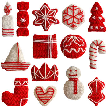 the decorations included in this set of knitting patterns